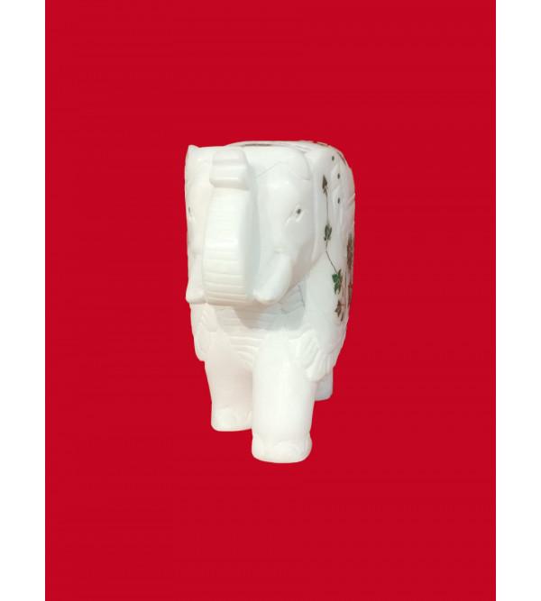 Alabaster Elephant With Semi Precious Stone Inlay Work Size 6 Inch