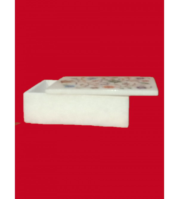 Marble Box With Semi Precious Stone Inlay Work Size 6x4 Inch