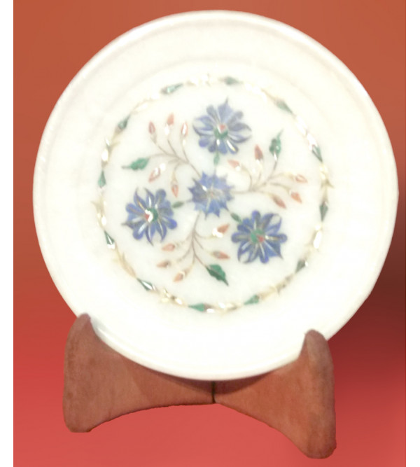 Marble Plate with Semi-Precious Stone Inlay Work Size 6 Inch