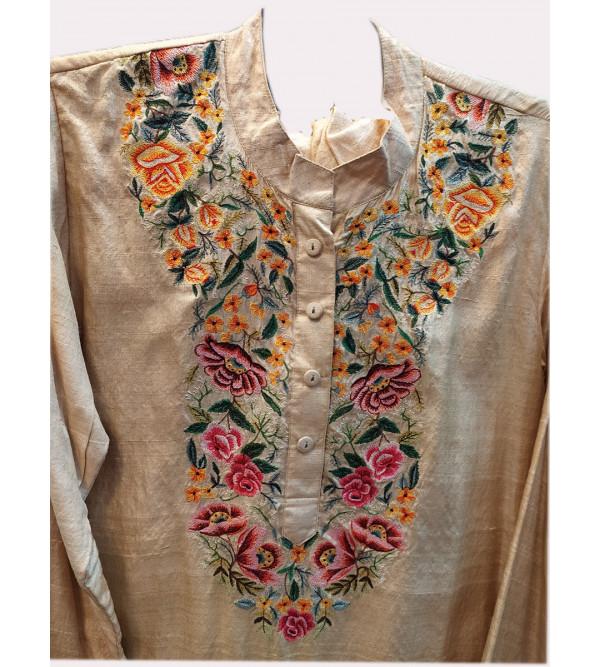 Tussar Silk Hand Block Print Long Kurtis Salwar Dupatta Set