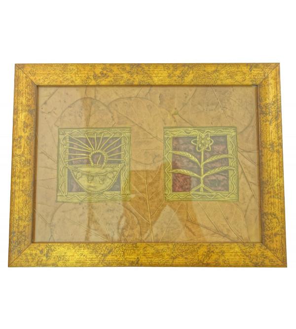 Handicraft Dhokra Panel 8x5 Inch Leaf Mount Assorted Frame