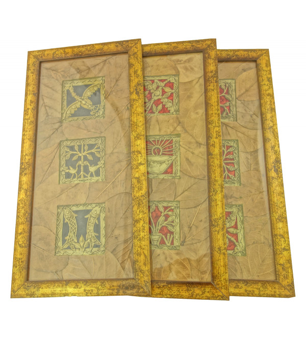 Handicraft Dhokra Panel 4x15 Inch Leaf Mount Assorted Frame