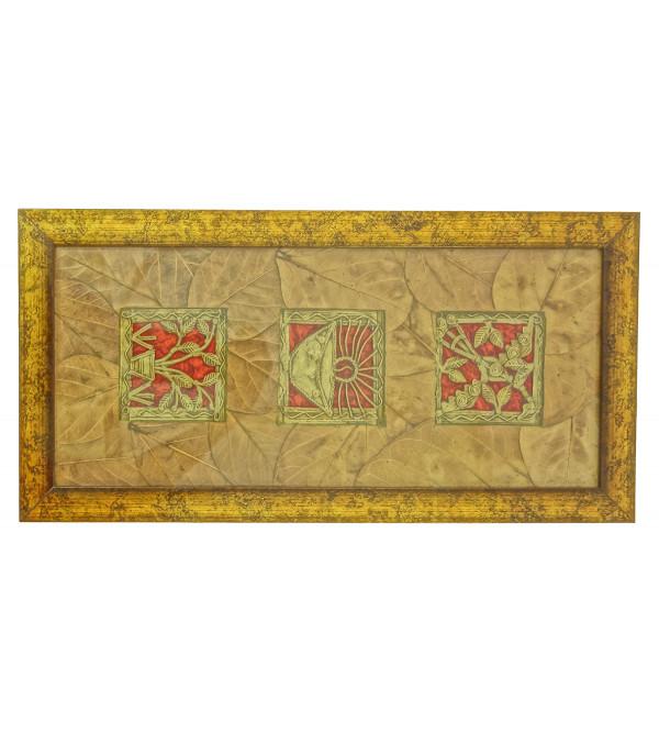Handicraft Dhokra Panel 4x15 Inch Leaf Mount Assorted Frame