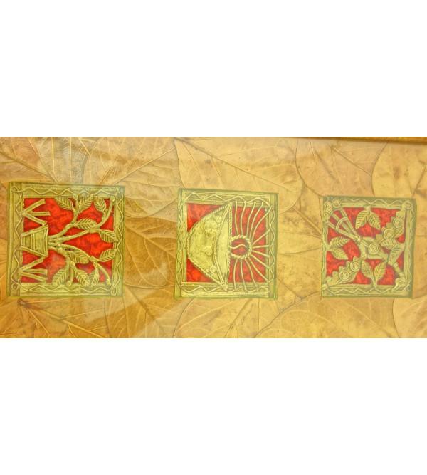 Handicraft DhokraPanel 4x15 Inch LeafMount Astd Frame