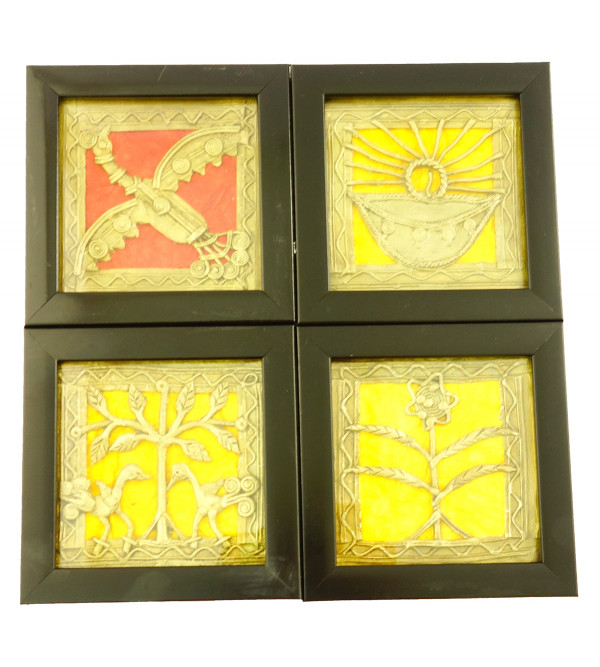 Handicraft Dhokra Panel Coaster  4x4 Inch Assorted Designs