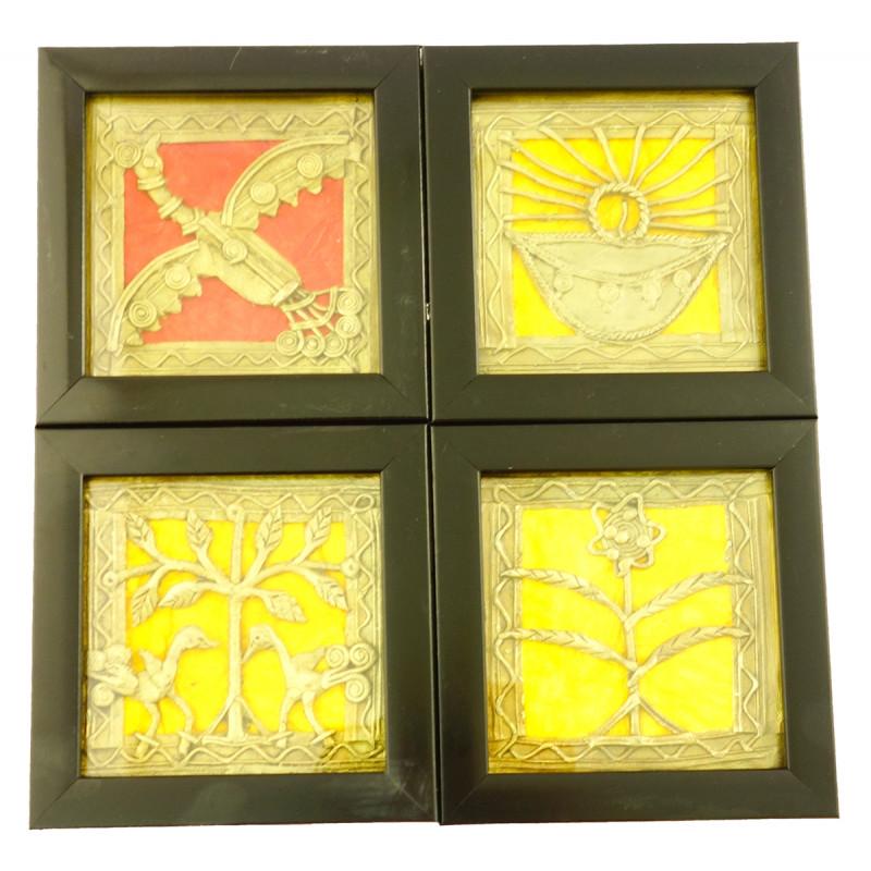 Handicraft Dhokra Panel Coaster  4x4 Inch Assorted Designs