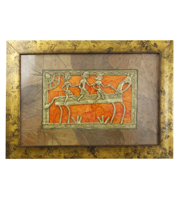Dhokra Handcrafted Panel Framed With Mount Leaf Panel