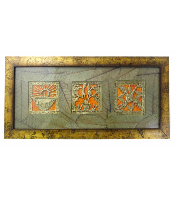 Dhokra Handcrafted Panel With Mount Leaf Panel Framed Size 4X15 Inches