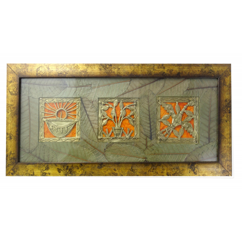 HANDICRAFT ASSORTED DHOKRA 4X15 INCH WITH LEAF MAUNT PANNEL FRAME