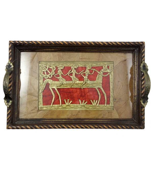 HANDICRAFT ASSORTED DHOKRA TRAY MEDIUM 12X9 INCH
