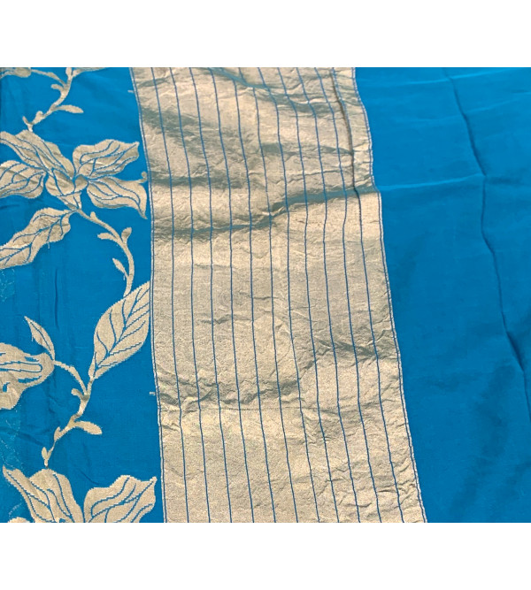 Georgette Silk Handloom Banaras Zari Saree with Blouse