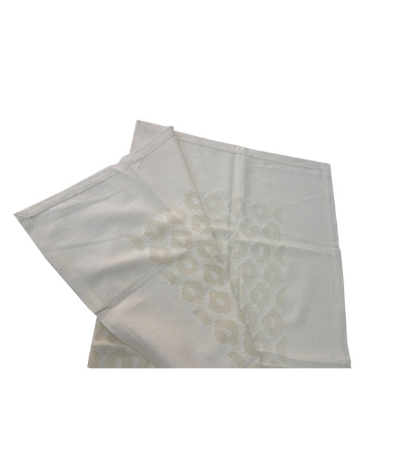 VARANASHI 36X36 INCH COTTON  CUTWORK OFF WHITE TABLE COVER