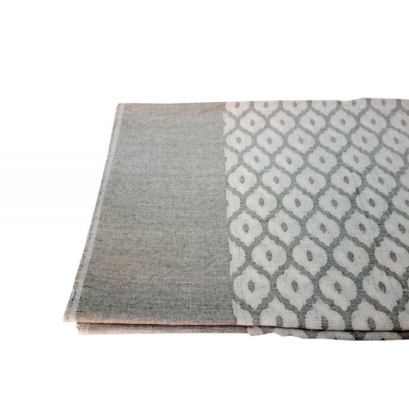 VARANASHI 60X60 INCH COLOURED COTTON CUTWORK TABLE COVER