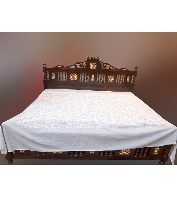 Cutwork Cotton Hand Woven Bedcover Size 90x108 Inch