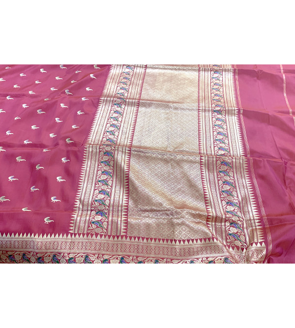 Banaras silk parrot buti saree with blouse