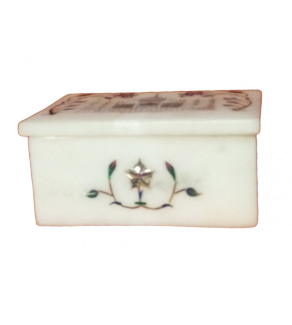 Marble Box with semi precious stone inlay Size 4x3 inch