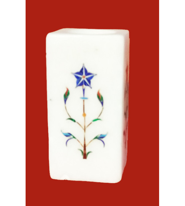 Marble Pen Stand With Semi Precious Stone Inlay Work Size 2x4 Inch