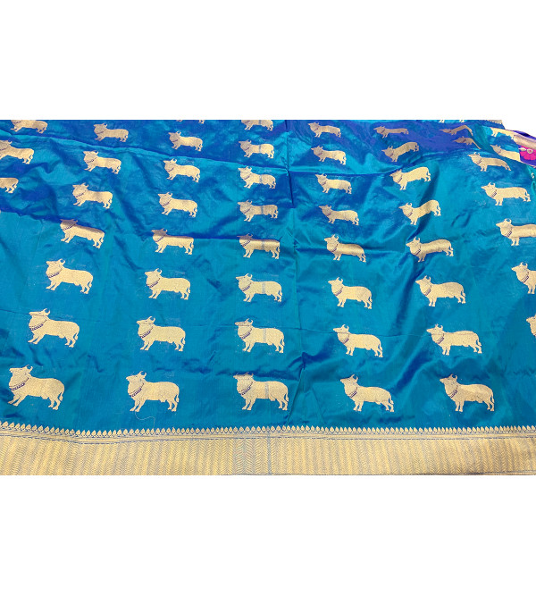 Banaras silk cow design HANDLOOM SAREE with blouse
