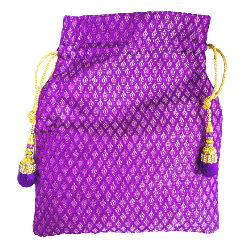 CCIC Silk Potli Bag With Assorted Designs And Color Size 9x6 Inch