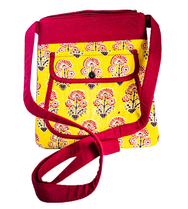 CCIC Cotton Sling Bag With  Assorted Designs And Colors Size 22x24 Cm