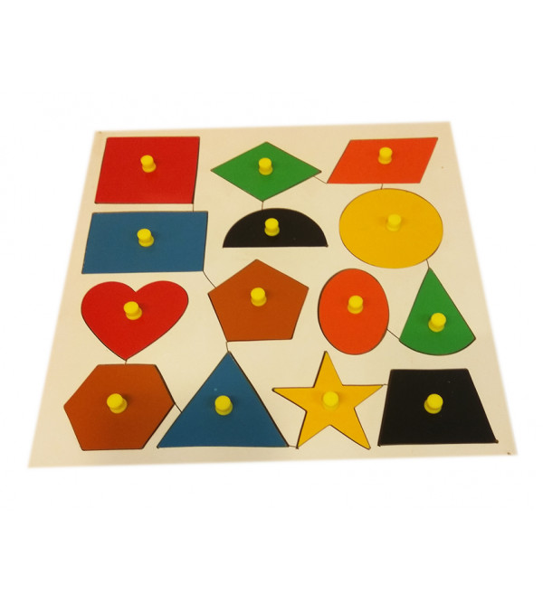 Education Toy Wooden Shape With Knob