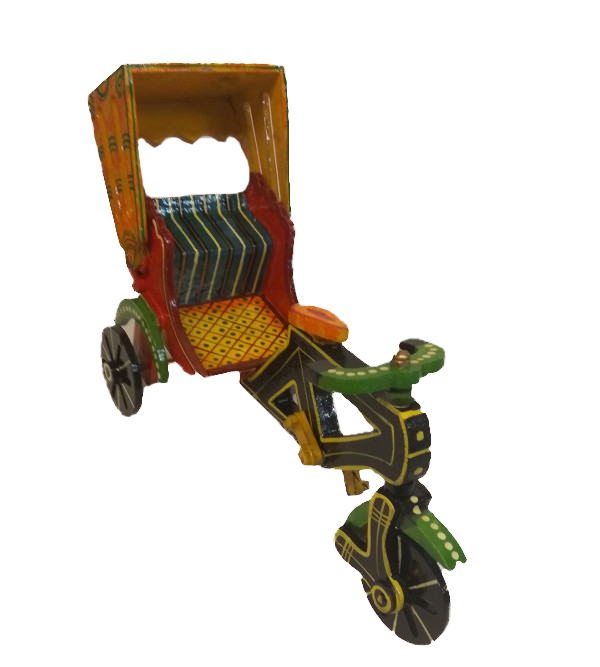 Wooden Hand Crafted  Lacquerware Rickshaw from Varanasi