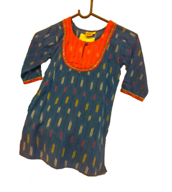 Cotton Ikat Kurta With Plain Lower Set For Girls Size 2 to 4 Year