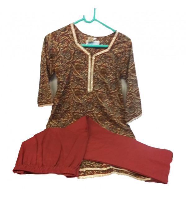 Cotton Printed  Kameez  With Plain Salwar Set Size 10 to 12 Year