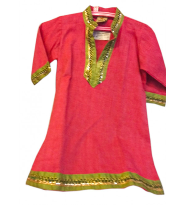 Cotton Plain Kurta With Thread Design For Girls Size 1 to 2 Year