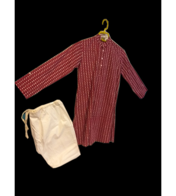 Cotton Printed Kurta Pajama Set Size 6 to 8 Year