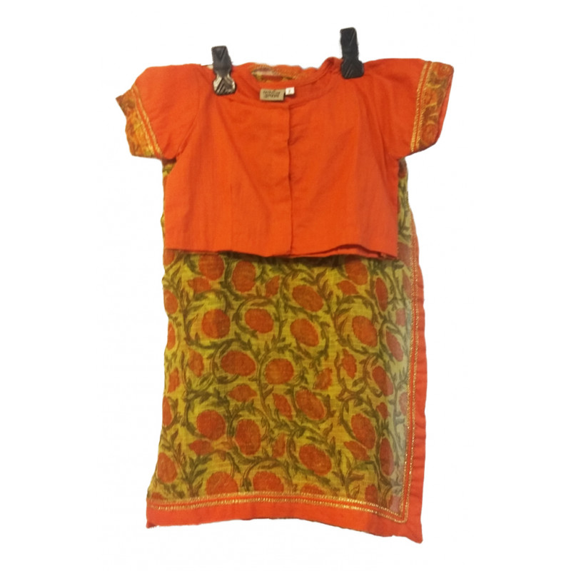 Printed  Kota Cotton Stiched Saree With Blouse Size 2to 4 Yr