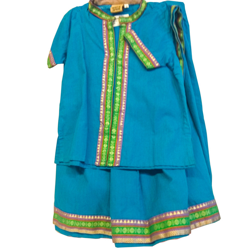 Cotton Manglagiri Lehenga Choli Set Size 2 to 4 Year