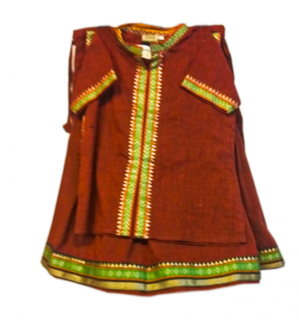 Cotton Woven mangalgiri Lehenga Choli Set Size 1 to 2 Year