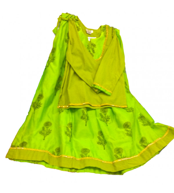 Printed Cotton Lengha Choli Set Size 6 to 8 Yr
