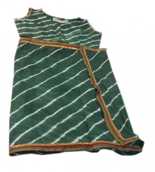 Cotton Lehriya Printed Stitched Saree With Blouse Size 2 to 4 yr