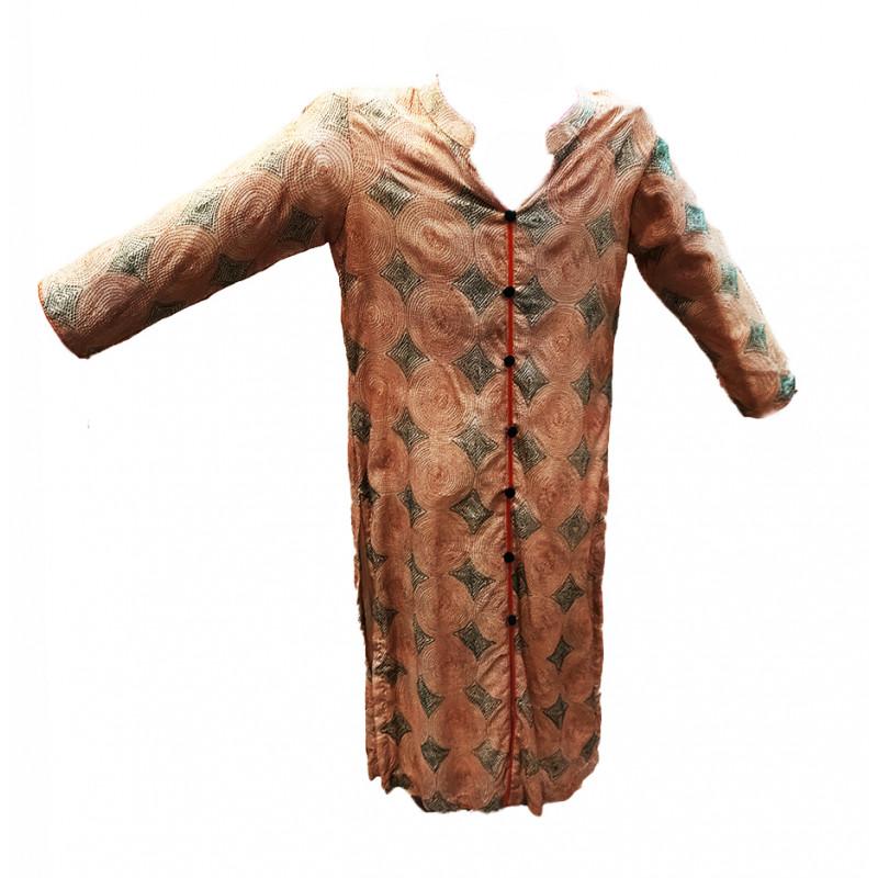 Handwoven Kantha Embroidery Silk long Kurtis