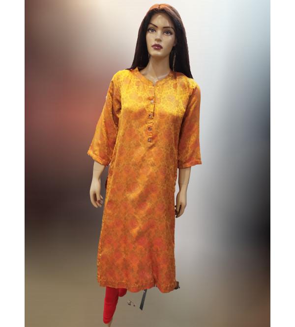 Tanchoi Silk Handwoven Banaras Long Kurtis
