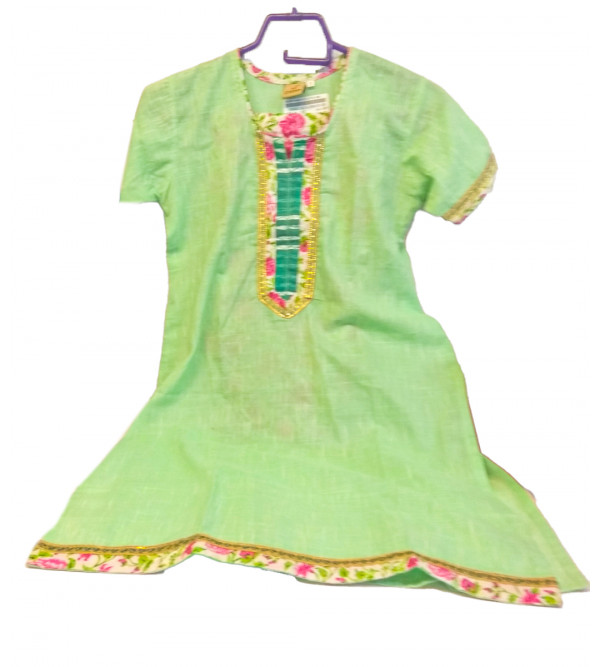 Cotton Plain kurta With printed Lower For Girls Size 6 to 8 Year