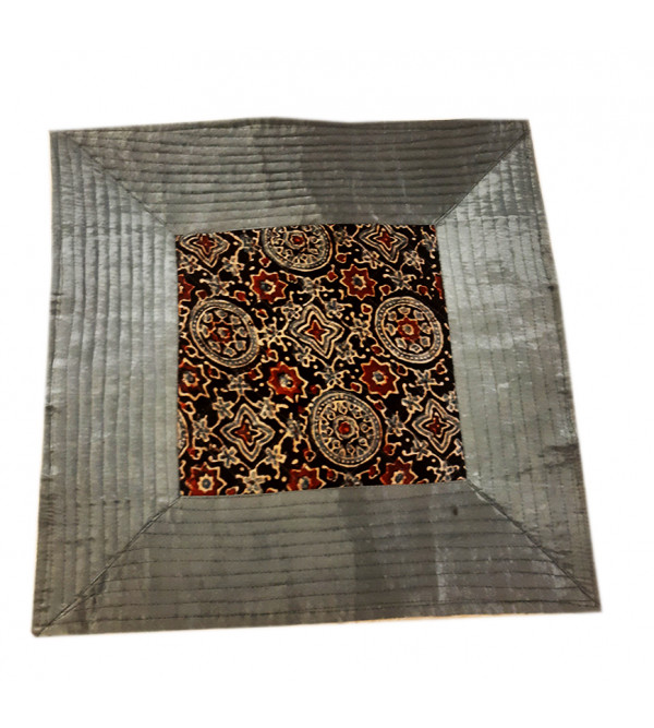 Quilted Handmade Silk Cushion Cover Size 16X16 Inch