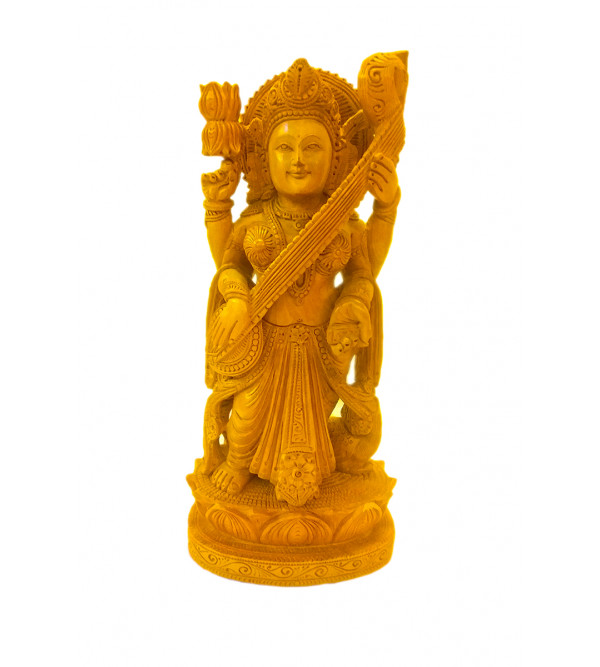 GOD FIGURE CARVED KADAM WOOD SARASWATI 12 INCH