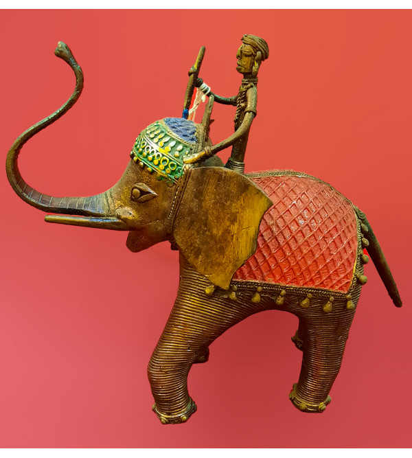 Dhokra Handcrafted Standing Elephant Size 10 Inches