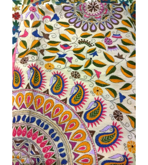 Handloom Bed cover silk embroidered Kantha 60x90 inch