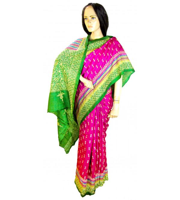 Kantha Tussar Saree With Blouse Tye/Dye 50-55 Gm Size 6.35 Meter