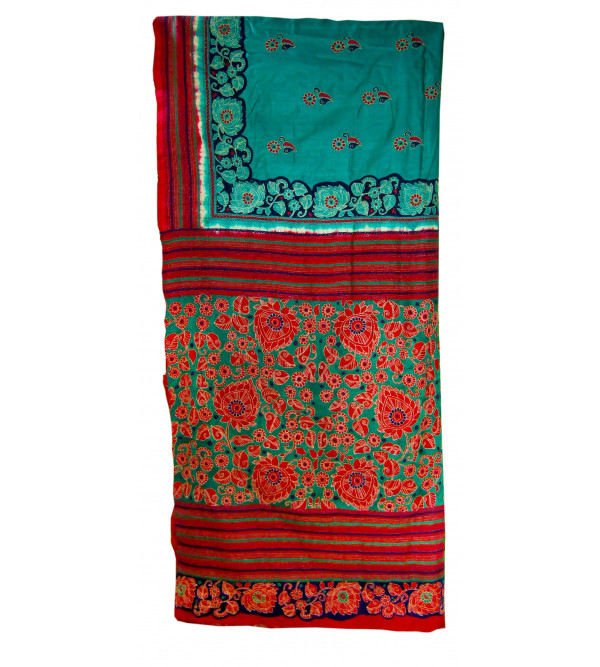 Kantha Tussar With Blouse Full Work Size 6.35 Meter