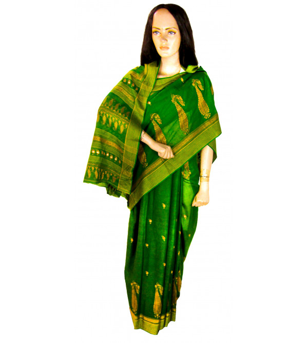 Kantha Cotton Saree With Blouse Buti With Mirror Work Size 6.35 Meter