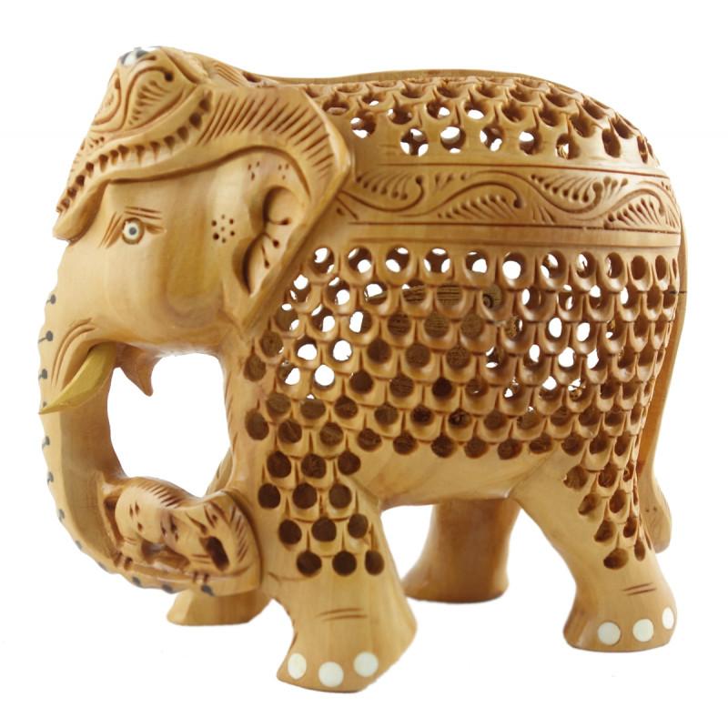 HANDICRAFT KADAM WOOD ELEPHANT UNDERCUT 3 INCH