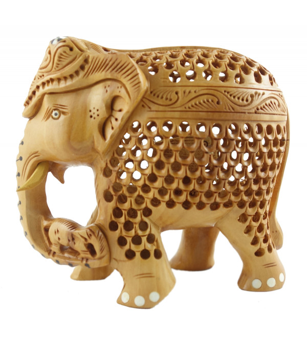 HANDICRAFT KADAM WOOD ELEPHANT UNDERCUT 4 INCH
