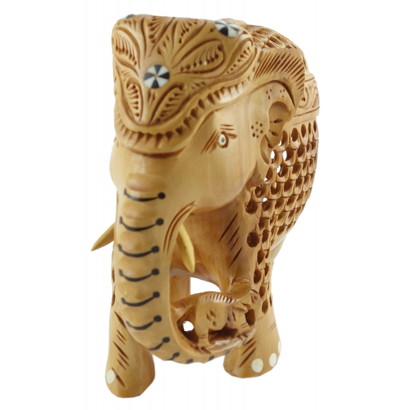 HANDICRAFT KADAM WOOD ELEPHANT UNDERCUT 6INCH