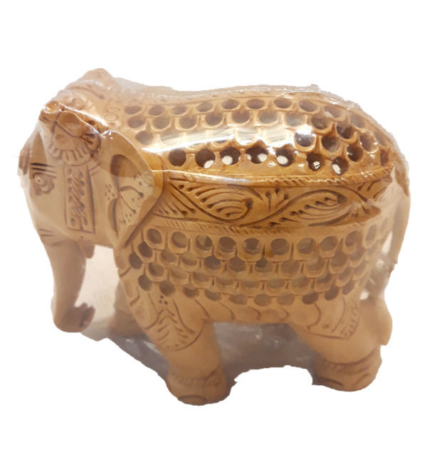 Kadamba Wood Handcrafted Carved Elephant with Undercut Design