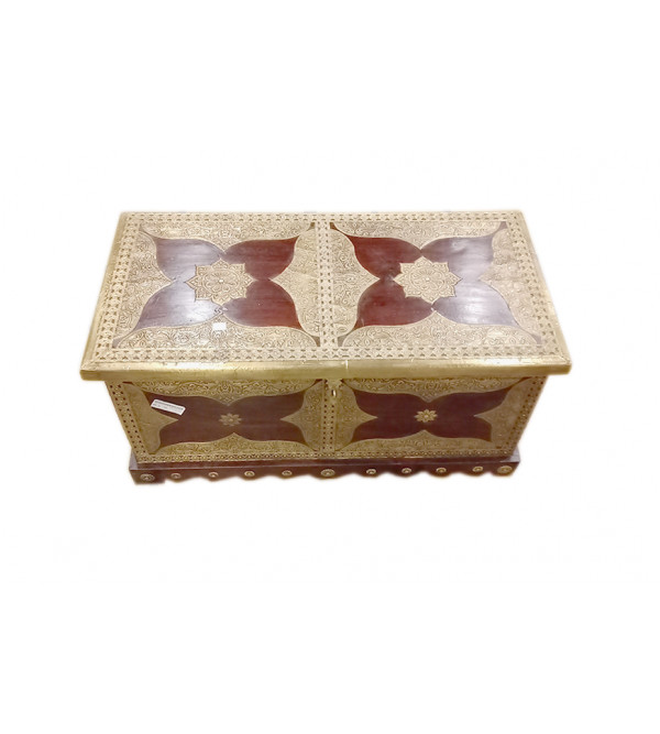 Box With Brass Patra Work Handcrafted In Mango Wood Size 33X16 Inches